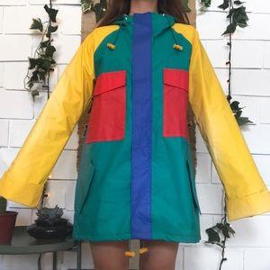 Vintage color block rubber rain coat